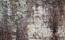 Stone ancient carvings cambodia angkor wat Royalty Free Stock Images