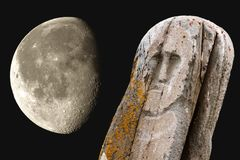Stone ancient totem moon Royalty Free Stock Image