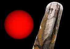 Stone ancient idol sun Stock Images