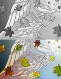 Stone angel statue. Praying stone angel statue and autumn maple leaves. In color and black and white Royalty Free Stock Photos