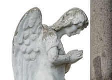 Stone angel. On a world war monument in Transylvania Stock Photos