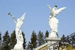Stone Angels. Angels in front of a Russian Orthodox Church Royalty Free Stock Photos