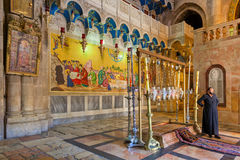 Stone of Anointing in the Church of the Holy Sepulcher. Stock Photos