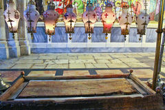 The stone of the Anointing at the Church of the Holy Sepulchre i Royalty Free Stock Images