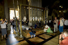 The stone of anointing at the Church of the Holy sepulchre in J Royalty Free Stock Image