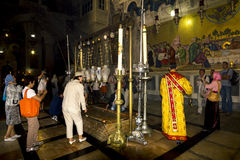 The stone of anointing at the Church of the Holy sepulchre in J Stock Photography