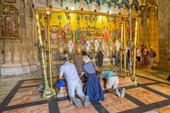 Stone of Anointing in the Holy Sepulchre Church Jerusalem Stock Images