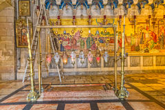 Stone of Anointing in Holy Sepulchre Church Stock Photos