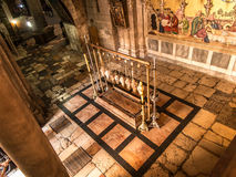 Stone of the Anointing of Jesus in the Holy Sepulchre, the holie Royalty Free Stock Image