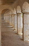Stone arcades. Of an old Catholic monastery Stock Photos