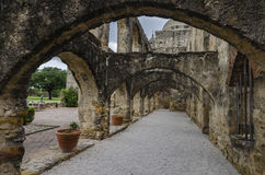 Stone arcades corridor at mission San Jose, San Antonio, Texas Stock Photo