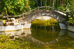 Stone  Arch bridge. A stone  Arch bridge   on  the   river  in the park Royalty Free Stock Photos