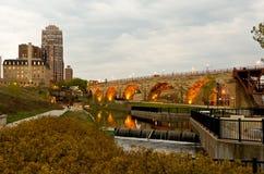 Stone Arch Bridge. Beautiful Minneapolis Minnesota and the Stone Arch Bridge Royalty Free Stock Photos