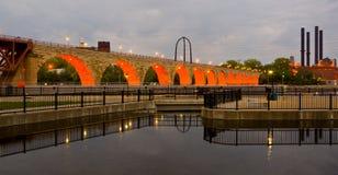 Stone Arch Bridge. Beautiful Minneapolis Minnesota and the Stone Arch Bridge Stock Photography