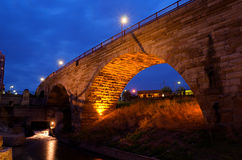 Stone Arch Bridge. The Beautiful Stone Arch Bridge at Night in Minneapolis Minnesota Royalty Free Stock Photography