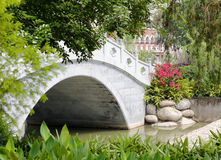 Stone arch bridge. Chinese style stone arch bridge in shuijinghujun residential area, xiamen city, china Royalty Free Stock Images