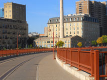 Stone Arch Bridge Curve. A picture of a curve on stone Arch Bridge in Minneapolis stock photo