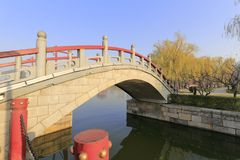 Stone arch bridge in datangfurongyuan park, adobe rgb. Stone arch bridge of datangfurongyuan garden, xian city, shaanxi province, china. here was the royal Stock Images
