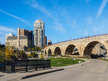Stone Arch Bridge and Flour Mill Ruins 1 Stock Photos