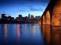 Stone Arch bridge in Minneapolis. Stone Arch bridge over Mississippi as Minneapolis landmark Royalty Free Stock Photo