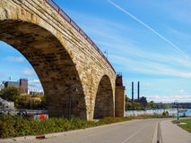 Stone Arch Bridge in Minneapolis 1. This is the Mill Ruins Park in Minneapolis, Minnesota. It features the Stone Arch Bridge Stock Photography