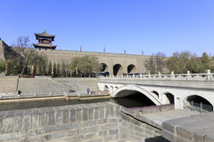 Stone arch bridge on the moat of xian circumvallation in winter Royalty Free Stock Images