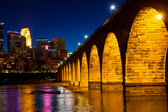 Stone Arch Bridge. At Night in Minneapolis Royalty Free Stock Photography