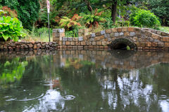 Stone arch bridge over pond. Small stone arch bridge over a pond on a rainy day with trees in the background Royalty Free Stock Images