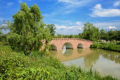 Stone arch bridge over river in sunny summer. Stone arch bridge over the river in sunny summer,Chengdu,China Stock Photo
