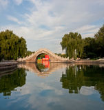 Stone arch bridge reflection in pond royalty free stock images