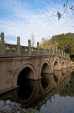 Stone arch bridge reflection in pond Stock Photography