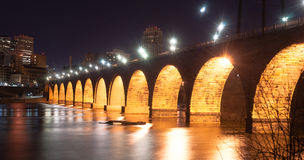 Stone Arch Bridge St Paul Minnesota Mississippi River Night stock image