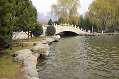The stone arch bridge of the xian museum in winter, adobe rgb. The stone arch bridge of the xian museum, shaanxi province, china. xian museum is including Royalty Free Stock Photo