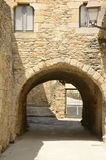 Stone arch on building. In the medieval village of Peratallada, located in the middle of the Emporda region of Girona, Catalonia, Spain Royalty Free Stock Photography