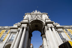 Stone arch at Commerce square at Lisbon. Stone arch at Terreiro do paco, Commerce square at Lisbon, Portugal Stock Photos
