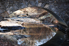 Stone arch with a creek with reflections. Royalty Free Stock Photography