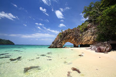 Stone arch at Khai island in southern of Thai Royalty Free Stock Images