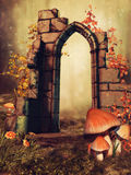 Stone arch and mushrooms Royalty Free Stock Image