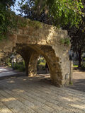 Stone arch in park of old Jaffa Stock Photos