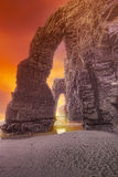 Stone arch on Playa de Las Catedrales Royalty Free Stock Image