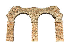 Stone arch. (remains of an aqueduct), isolated on white background Stock Photography