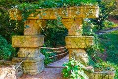 Stone arch of suspension bridge in Arboretum, Sochi, Russia. The stone arch of the suspension bridge overgrown with grass and flower in Arboretum in sunny autumn Stock Photo