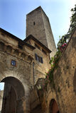 Stone Arch Tower San Gimignano Tuscany Italy Stock Photography