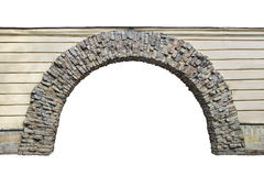 Stone arch in the wall isolated on white background stock photography