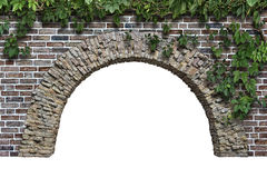 Stone arch in the wall isolated on white background. Stone arch in the wall  isolated on white background Stock Image