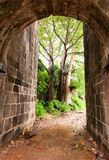 Stone arched entrance of Vasai fort stock images