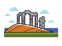 Stone arches ruins from Scotland on hill near ocean. Ancient construction that has historical value. Celtic building under cloud isolated cartoon flat vector Royalty Free Illustration