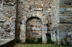 Perfect stone arch. In the stone arches, the voussoirs have the shape of a solid called truncated wedge royalty free stock photos