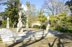 Stone architectural columns in park of Seville Royalty Free Stock Photo