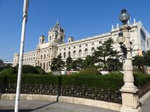 Stone architecture of house facades and monuments, Vienna, Austria.  stock image